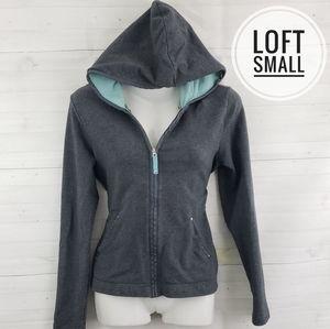 Small Loft Gray Fitted Zip Hooded Sweatshirt